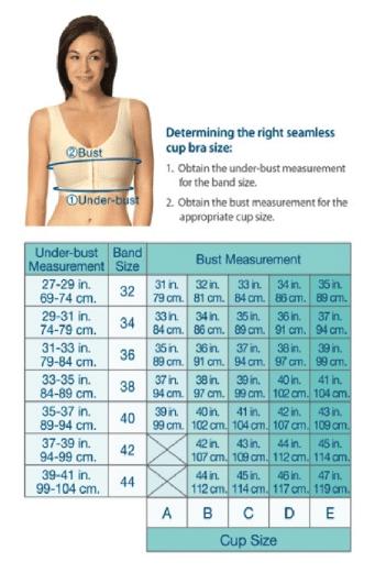 Post Surgical Bra Sizing Chart