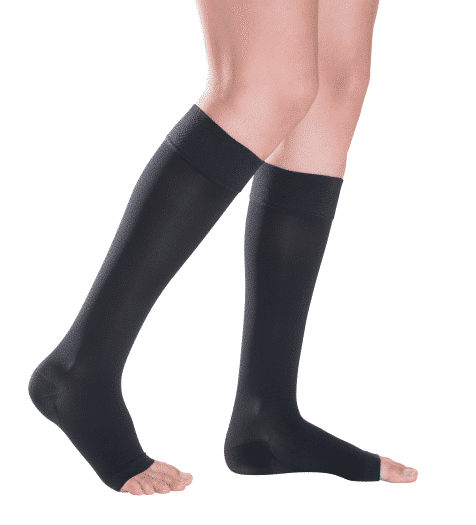 Magic calf length socks in black with an open toe provide medical grade graduated compression