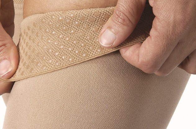 Silicone dots keep your Jobst Relief thigh high stockings in place