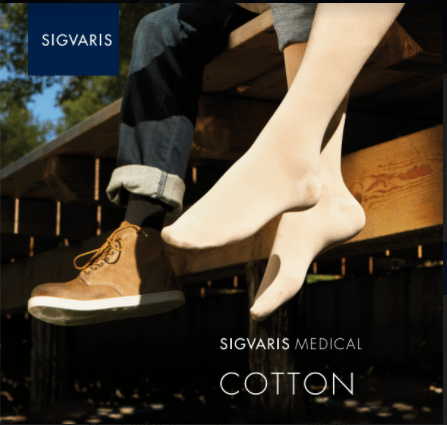 Unisex Sigvaris Cotton Socks in nude and black available.
