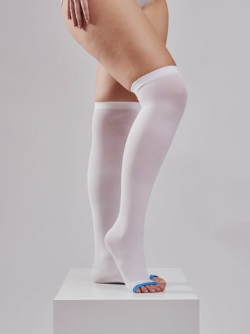 BodyAid unisex anti-embolism TED style stockings in white with an open toe.