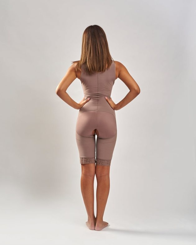 Rear view of BodyAid natural post-operative comfort bodysuit with built-in bra for extra support. Open crotch and non compressive butt lift shape support.