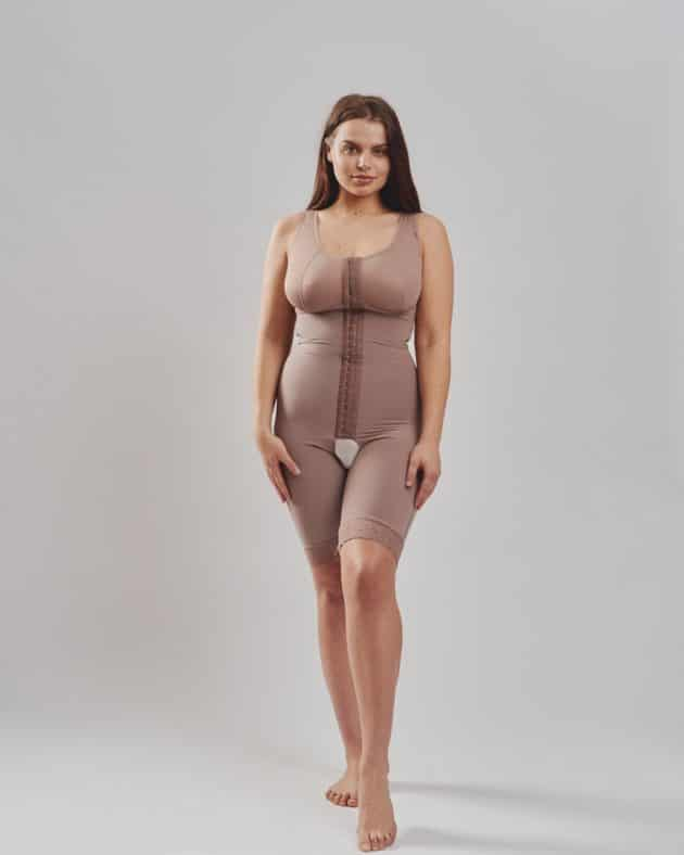 BodyAid natural post-operative comfort bodysuit with built-in bra for extra support. Three row front hook and eye closure for multiple adjustments and fit.
