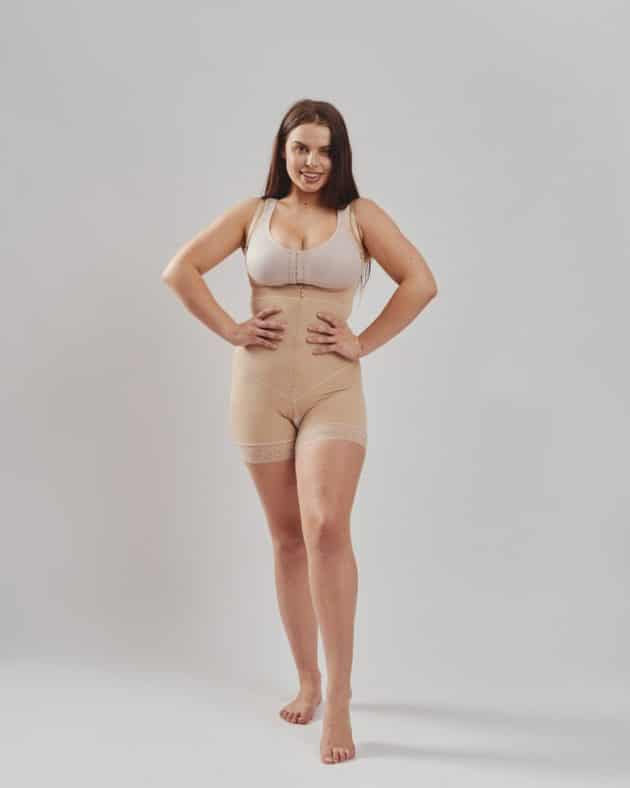 BodyAid boyleg bodysuit in beige with front zipper. Open crotch and non compressive butt lift shape support. Leonisa posture support bra in beige.
