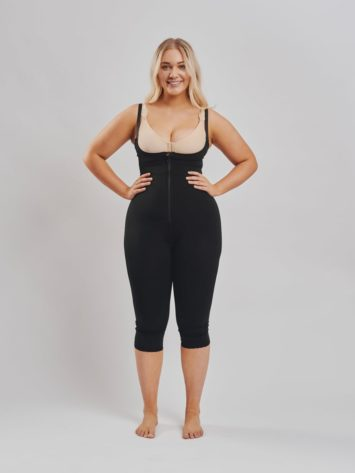 BodyAid Stage 1 Capri bodysuit in black with front zip closure and adjustable straps. Features non compressive butt lift shape support. BodyAid post surgery bra in beige.
