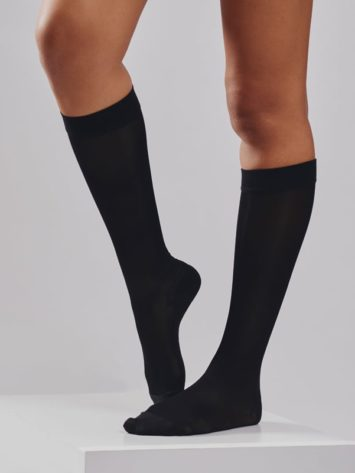 BodyAid knee high sheer graduated compression socks in black. All day professional comfort compression socks for vascular support.