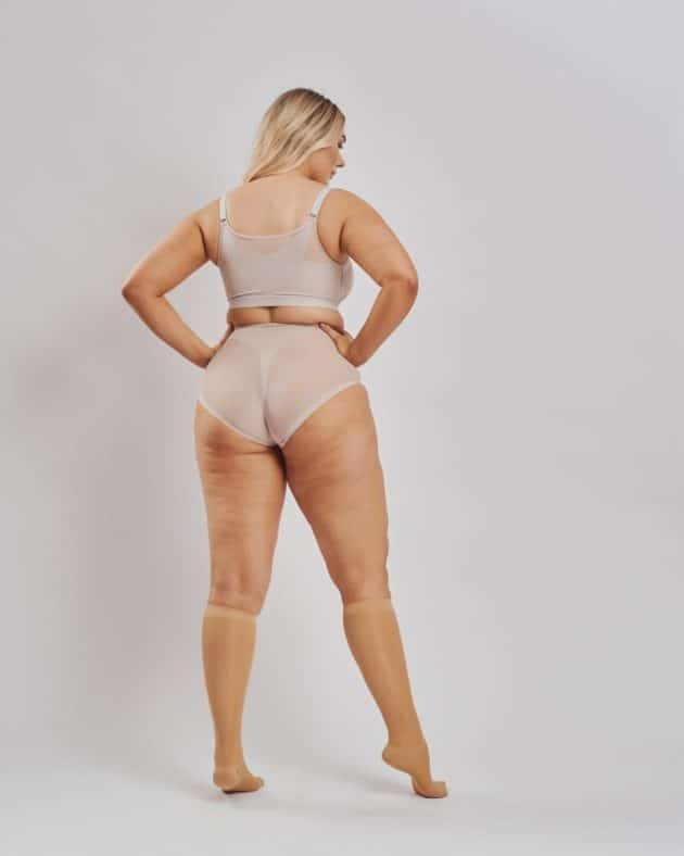 Leonisa front fastening posture bra and instant butt lift panties. BodyAid Sheer knee high graduated compression socks in beige Class I.