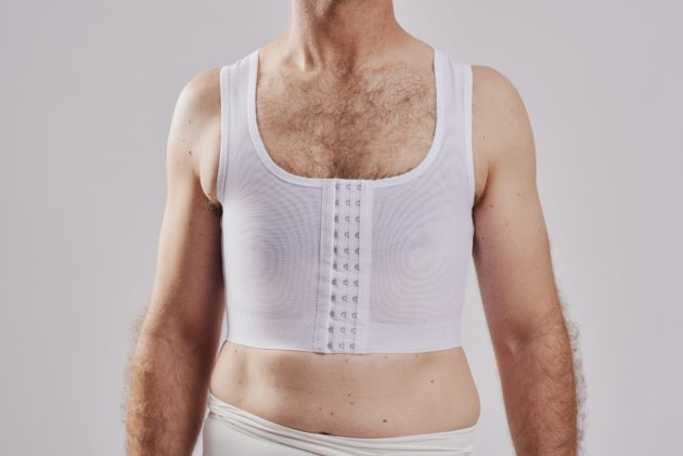 BodyAid chest compression binder in white. For compression of the chest pre-or post Gynecomastia procedures.