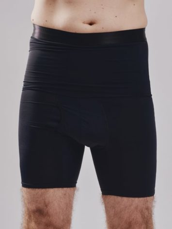 BodyAid male black high waist shaper shorts. Double layer abdominal compression.Opening crotch for convenience.