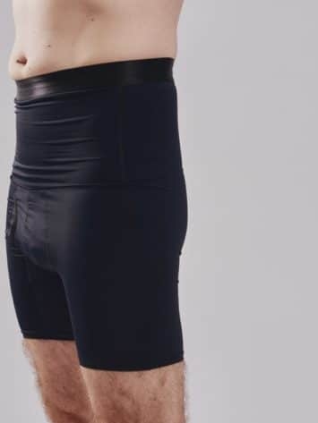 BodyAid male black high waist shaper shorts. Double layer abdominal compression. Side view.