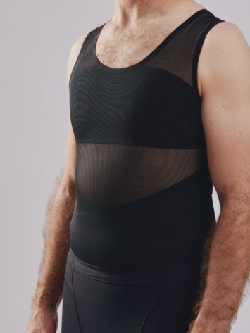 BodyAid male body slimmer in black for compression to the entire torso. Strategic support bands for better posture.