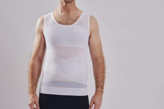 BodyAid male body slimmer in white for compression to the entire torso. Strategic support bands for better posture.