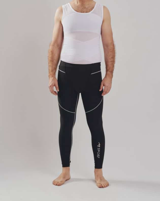 Front BodyAid male body slimmer in white for compression to the entire torso. Strategic support bands for better posture. Marena male leggings in black.