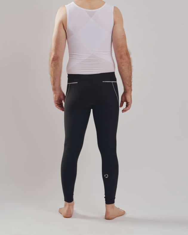 BodyAid male body slimmer in white for compression to the entire torso. Strategic support bands for better posture. Marena male leggings in black