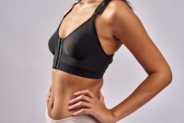 BodyAid Post Surgery Bra. Versatile multi cup size post op comfort bra in black suitable for Stage 1 & 2. Racer back for comfort and three row adjustable front closure.