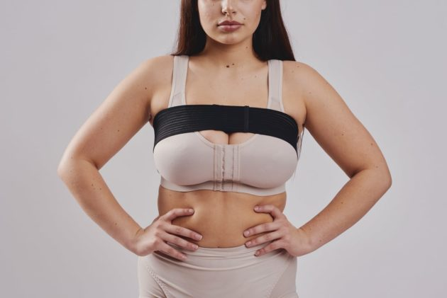BodyAid Post breast augmentation black self-adjusting comfort stabilizer band for implant positing and stability. Leonisa posture bra in beige.
