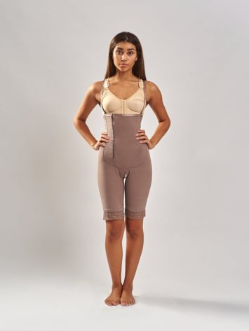 BodyAid Tummy trainer bodysuit in natural with targeted abdominal support. BodyAid Post surgery bra in beige.