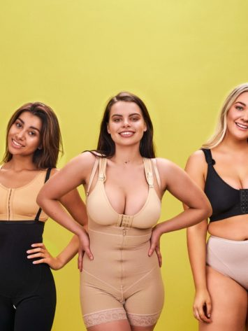 BodyAid stabilizer bra in beige. Tummy trainer bodysuit in black with targeted abdominal support and front zip closure. BodyAid post surgery bra in beige. BodyAid boyleg bodysuit in beige with front zipper. BodyAid post surgery bra in black.Invisible seamless panty in beige.