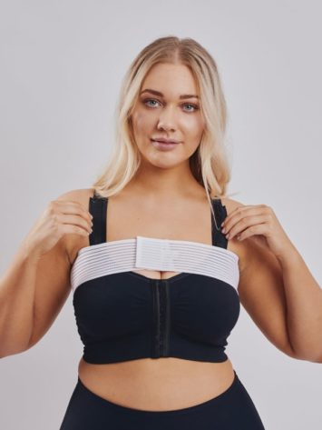 Clearpoint Medical Adjustable white stabilizer band for after breast augmentation. BodyAid arm compress crop in beige with 3/4 sleeves.