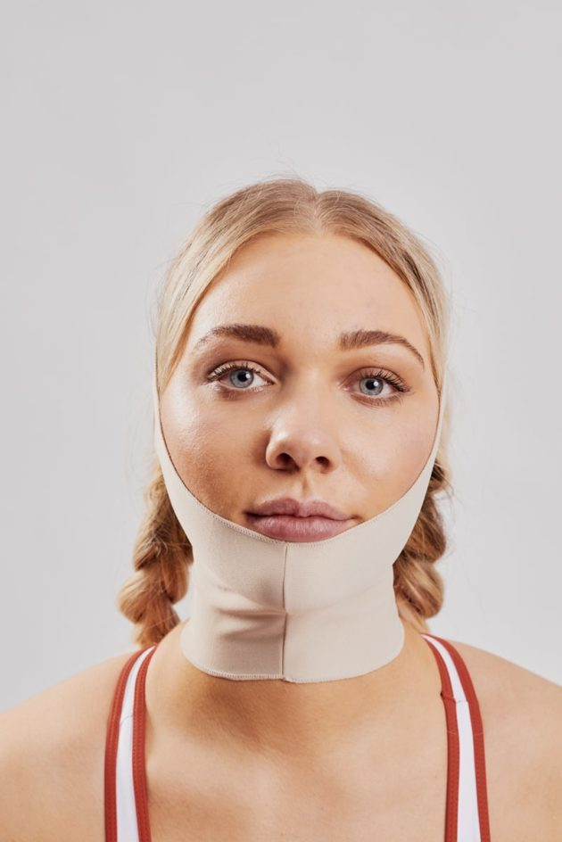 Clearpoint Medical Face mask. Beige medical post operation facemask for facial surgery to ears, chin, jaw, neck. Ideal mask for face lift and facial surgery. Front View two