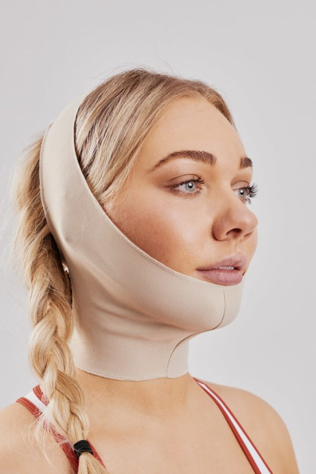 Clearpoint Medical Face mask. Beige medical post operation facemask for facial surgery to ears, chin, jaw, neck. Ideal mask for face lift and facial surgery. Buy at Bodyment