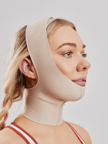 Clearpoint Medical Face mask. Beige medical post operation facemask for facial surgery to ears, chin, jaw, neck. Ideal mask for face lift and facial surgery.