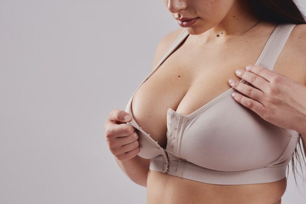 Leonisa posture bra in beige with adjustable front three row hook and eye closure. Suitable after all breast procedures.