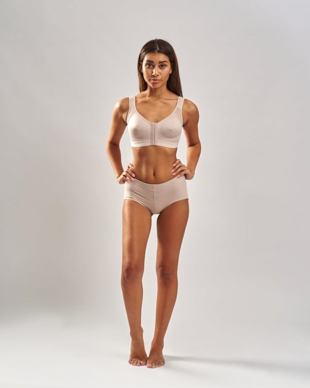 Instant Leonisa booty boosting padded beige panties. Comes with removable butt pads to instantly add volume and shape. Leonisa posture bra back support in beige.
