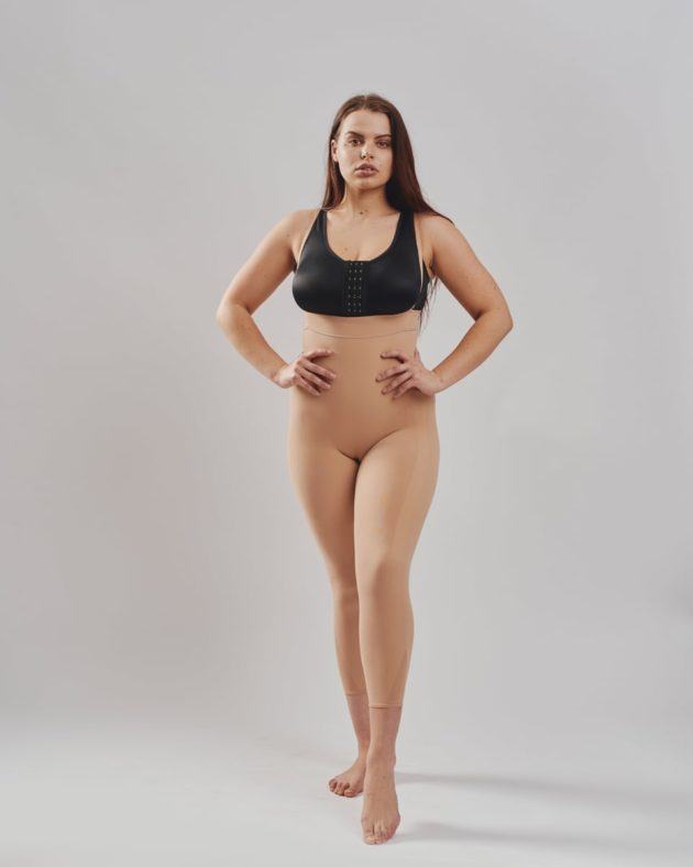 Invisible Leonisa full body shaper with shoulder straps in beige. Designed to shape your entire body