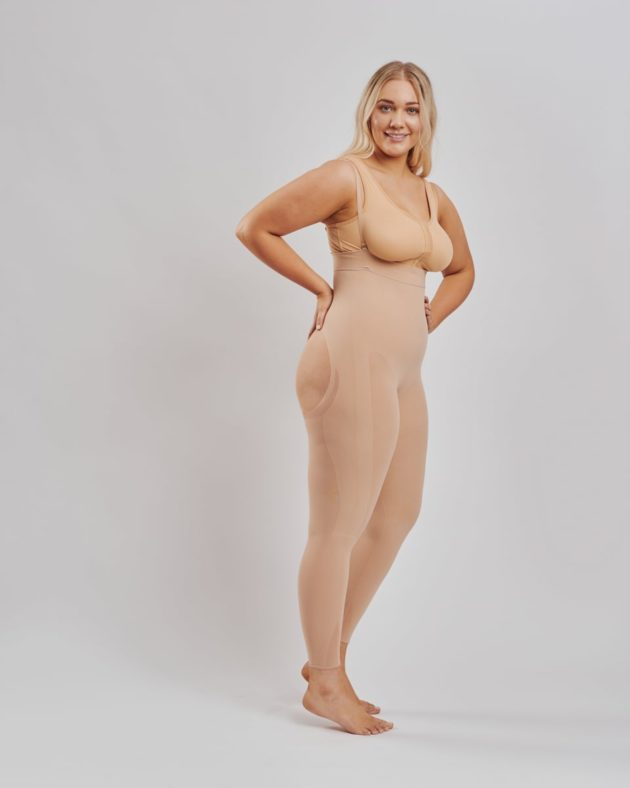 Leonisa Invisible full body shaper with shoulder straps in beige. BodyAid stabilizer bra in beige with front hook & eyes.