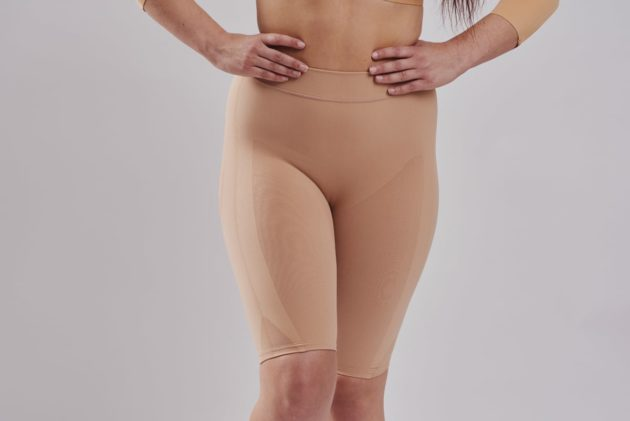 Well rounded invisible Leonisa butt lift shaper shorts in beige. The backside is made with sheer mesh to avoid flattening.
