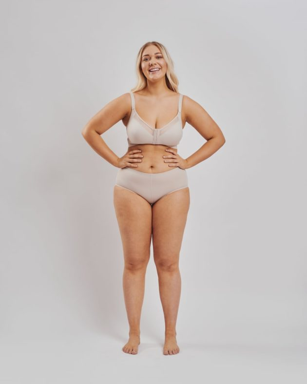 Increase your curves with Leonisa instant butt lift panties. Leonisa posture bra with criss-cross band in beige.