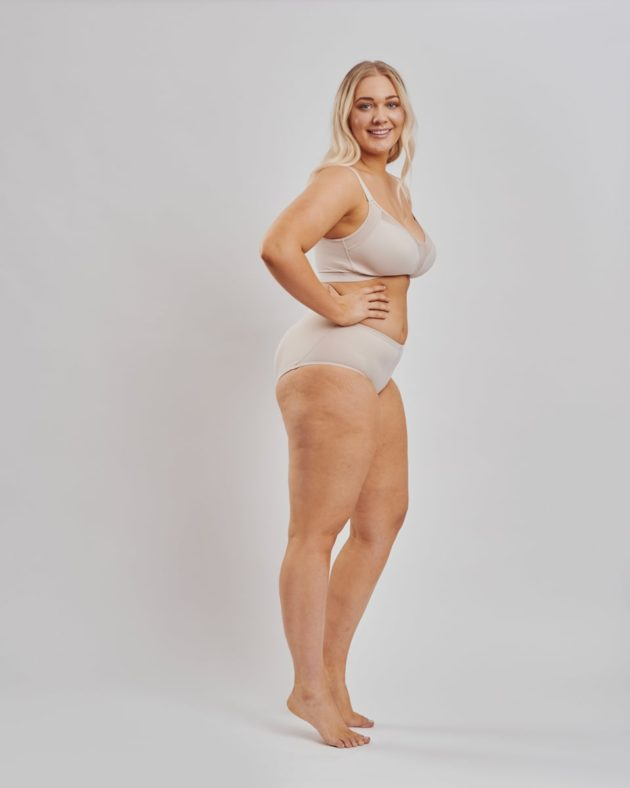 Leonisa front fastening posture bra and instant butt lift panties. both in beige. Stage 1 bra for all breast surgeries.