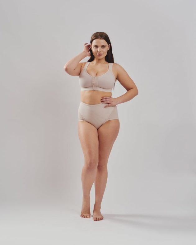 Leonisa posture bra in beige. Leonisa firm compression post partum panties with adjustable belly compression wrap in beige.