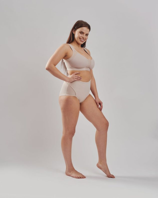 Leonisa firm compression post partum panties with adjustable belly compression wrap in beige. Leonisa posture bra in beige.