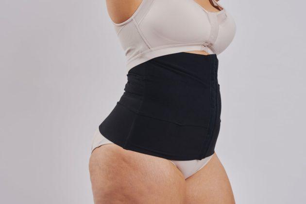 Leonisa Three panel tummy trainer abdominal binder in black for abdominal support.Leonisa posture bra. Instant Leonisa booty boosting padded beige panties.