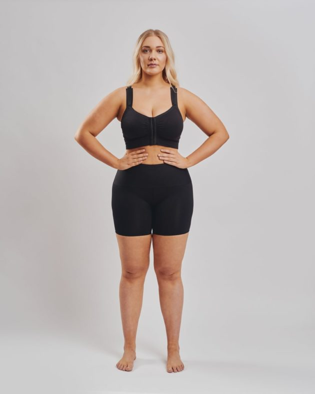 Leonisa Shaper Shorts. Black activewear shorts with waistband compression to comfortably sculpt tummy region. BodyAid black soft front comfortable fastening post op bra. Highly adjustable. One cup size fitsall.