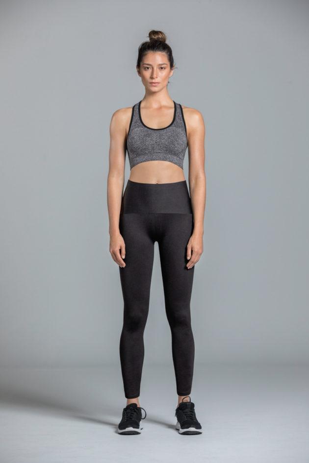 Leonisa Mid Rise Leggings Black Front