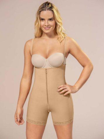 Leonisa Above Knee Compression Bodysuit Front beige