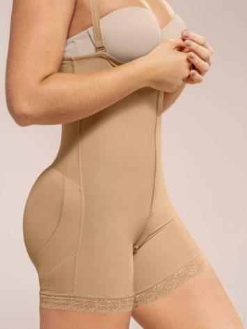 Leonisa Above Knee Compression Bodysuit Side beige