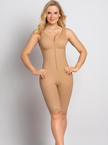 Leonisa Thigh Length Full Bodysuit Beige Front detail