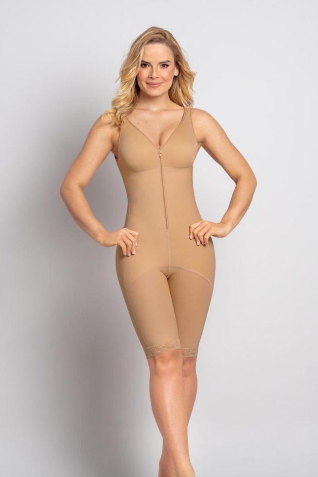 Leonisa Thigh Length Full Bodysuit Beige Front detail