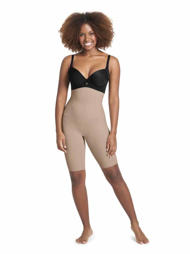 Leonisa High Waisted Shaper Shorts Front Beige