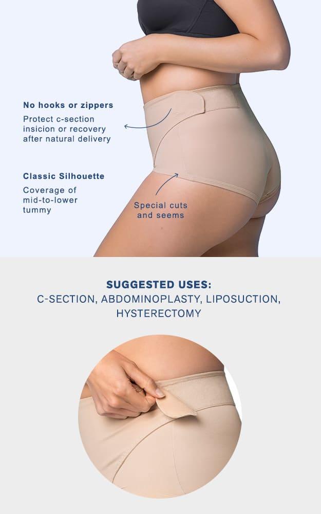 Adjustable velcro closure for advanced post pregnancy C section shape wear