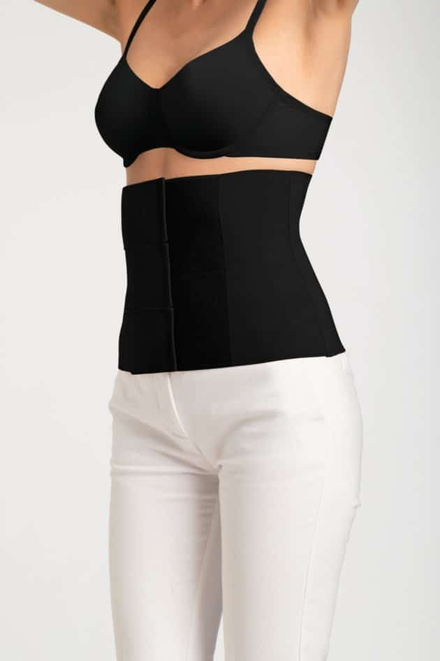 Belly compression binder in black for post surgery wear